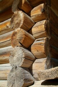 Detail of traditional, Norwegian log-cabin